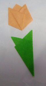 一番最初の折り紙はチューリップでした♪